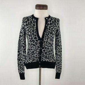 Ann Taylor Grey Leopard Wool Cardigan Sweater